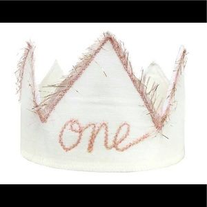 "Other - ""One"" Birthday Crown In Sparkle Pink/Oyster White"